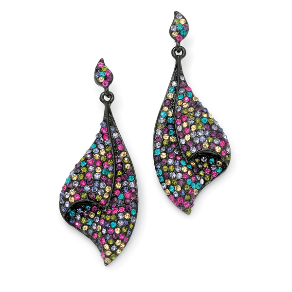 PalmBeach Multicolor Crystal Black Rhodium-Plated Fan Drop Earrings Color Fun