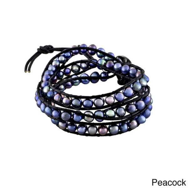 Glitzy Rocks Leather Freshwater Pearl Wrap Bracelet (6-7 mm)