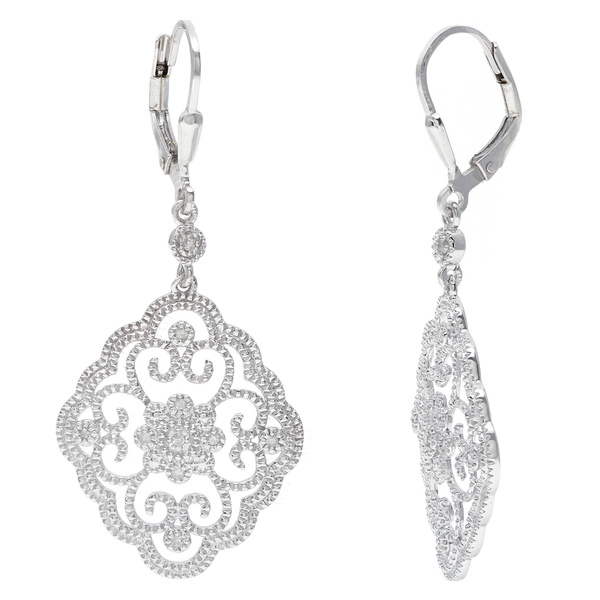 La Preciosa Sterling Silver Filigree Dangle Diamond Earrings (I-J, I2-I3)