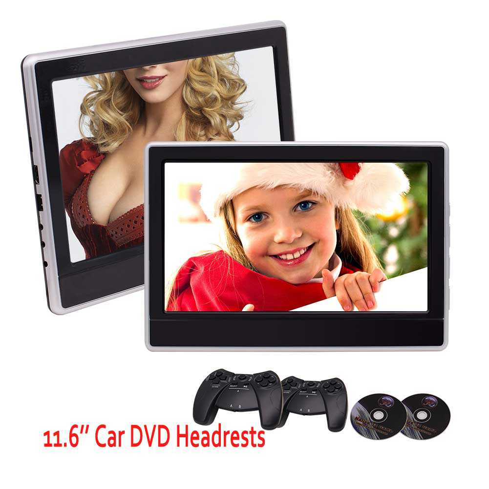 2 x 11.6 inch Digital Monitors Super-thin Car Headrests Rear-seat DVD Players IR/FM Transmitter 32 Bit Game with Game Discs Gamepads support USB SD HDMI Port with Dual Cigarette Lighter Adap